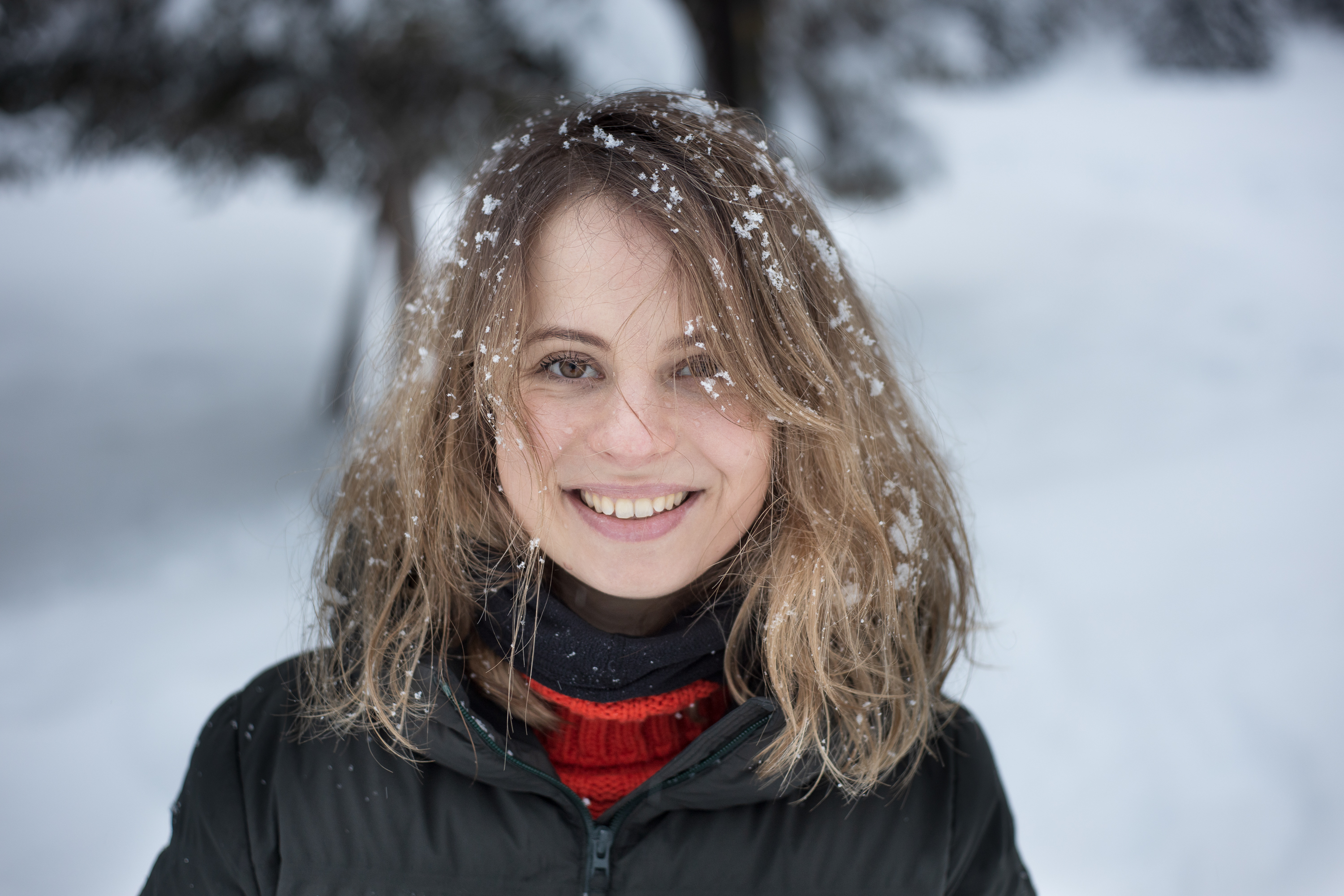 Girl with snow in the hair