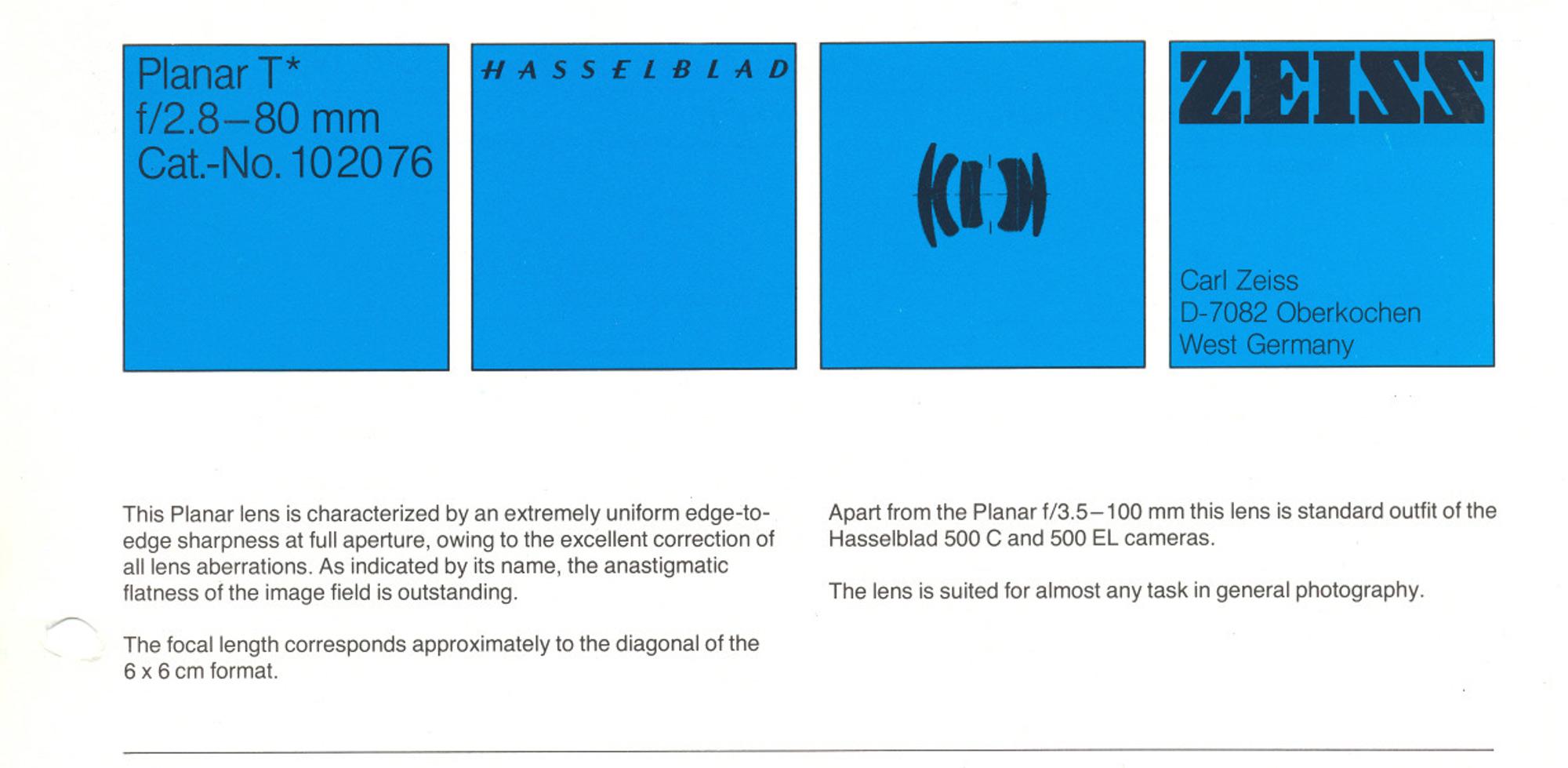 Hasselblad 80mm f2.8 Planar datasheet