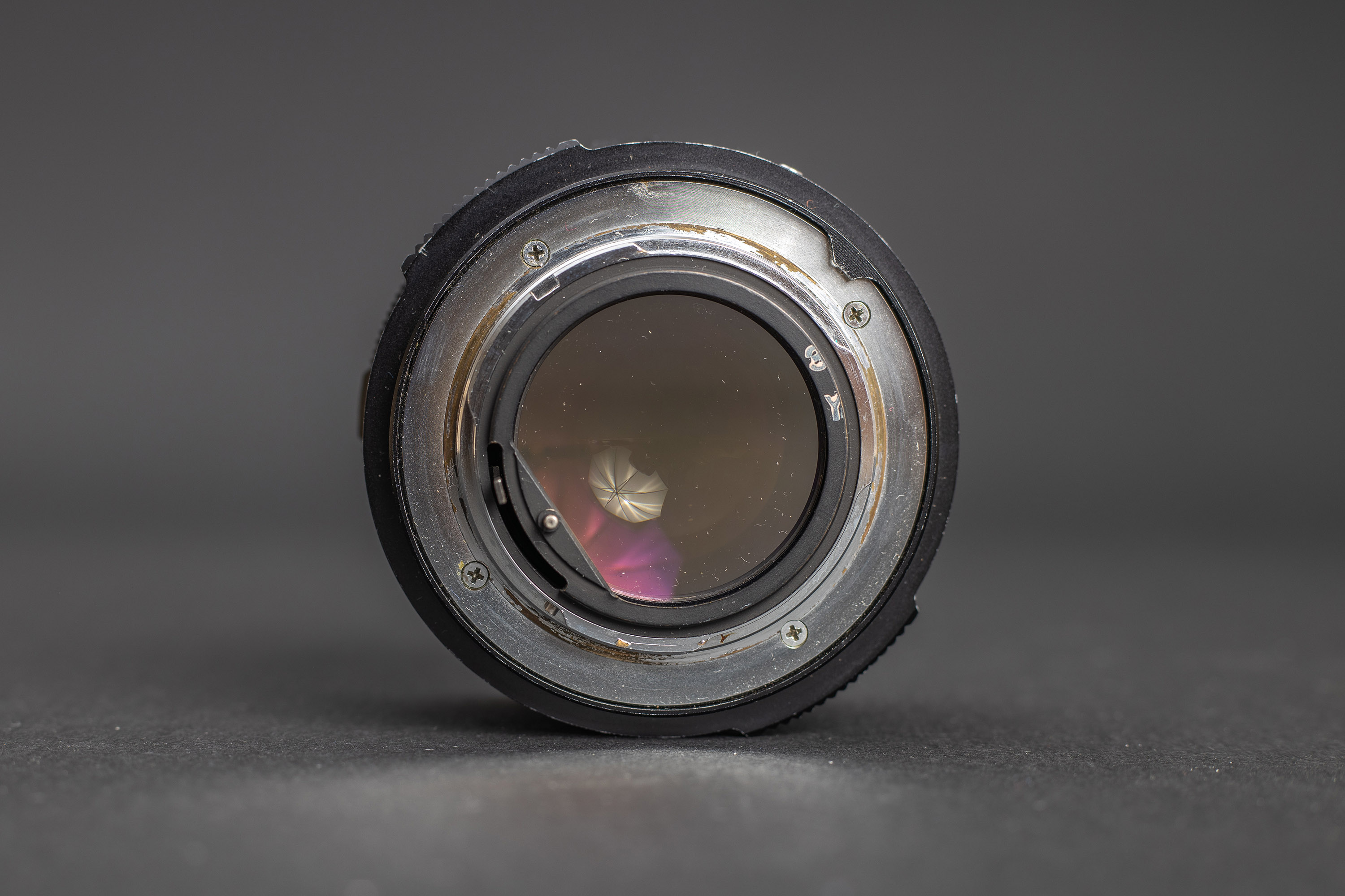 Konica Hexanon AR 57mm f1.2 - Back view showing the cut off element