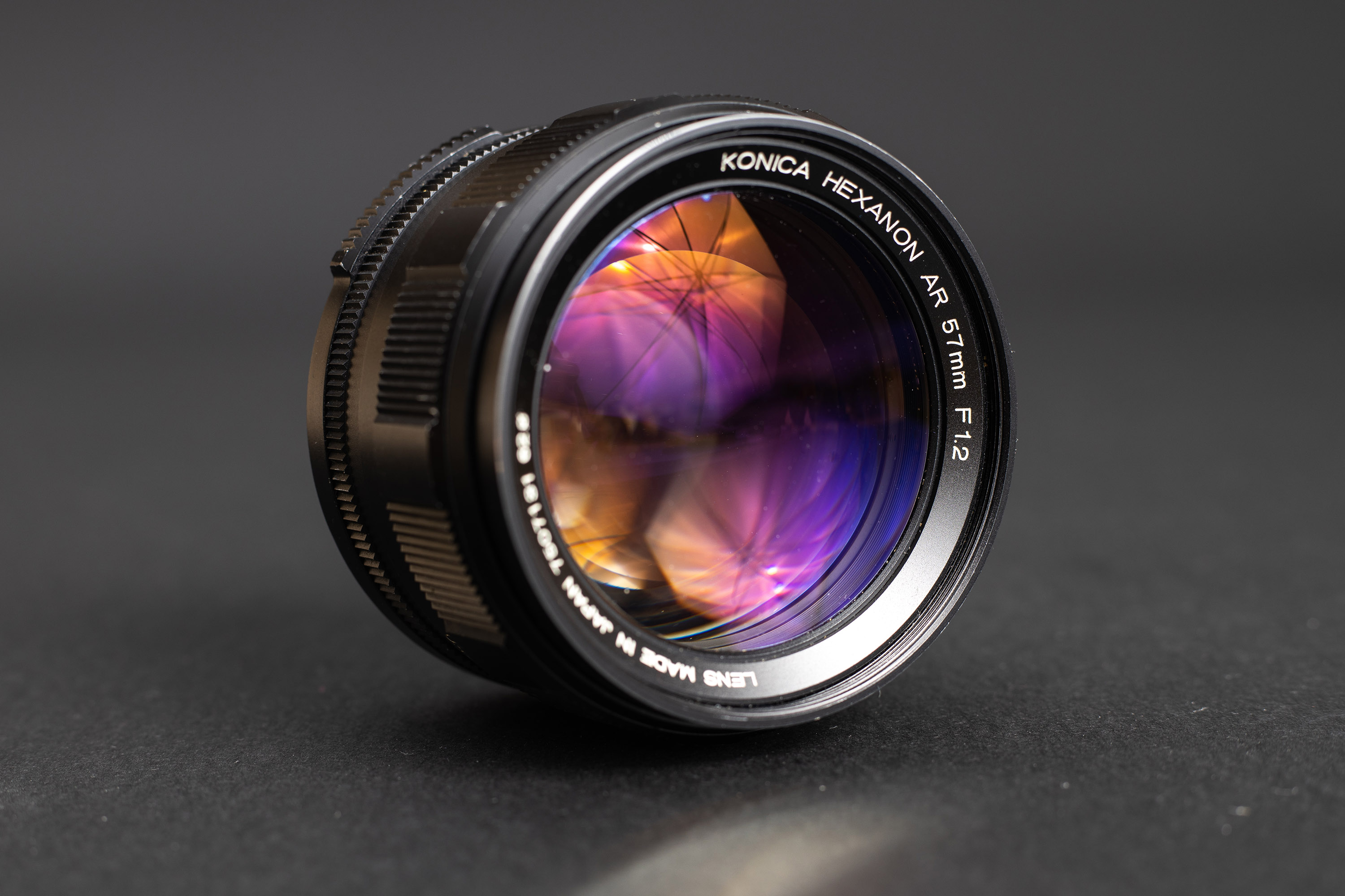 Konica Hexanon AR 57mm f1.2 - Front-side view and lens coating