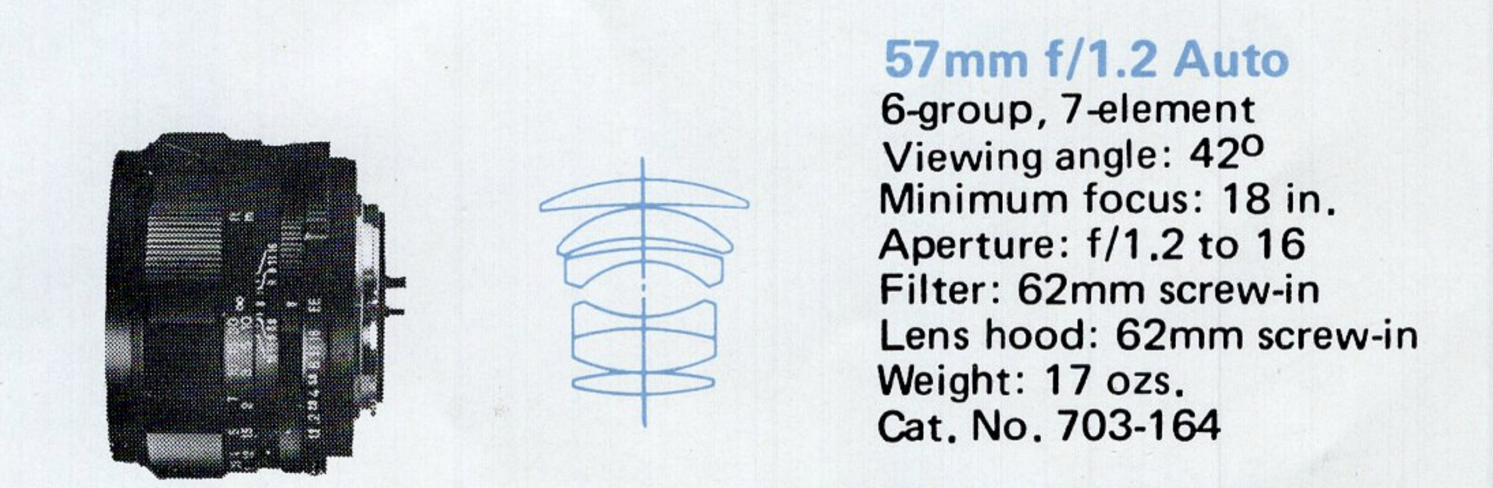 Konica Hexanon 57mm f1.2 Specifications and Diagram