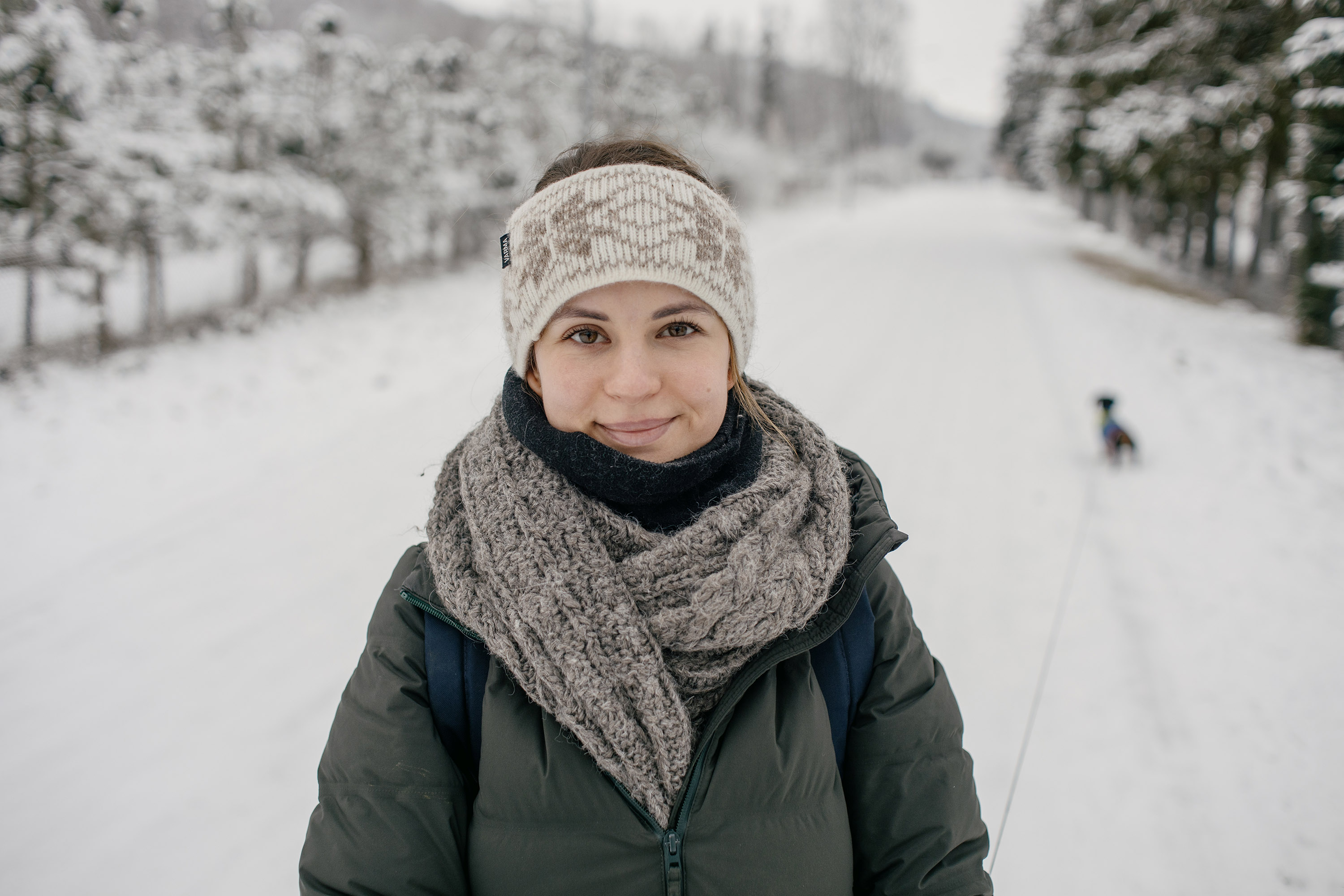 Portrait on the snowy road